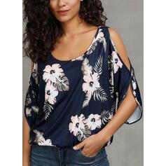 Potisk Květiny Kulatý Výstřih Odhalená Ramena 1/2 rukávy Neformální Bluze