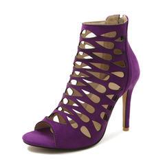 Femmes Suède Talon stiletto Sandales Escarpins À bout ouvert avec Zip chaussures