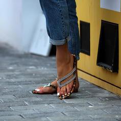 Mulheres Couro Sem salto Sandálias Chinelos Chinelos com Strass sapatos