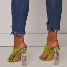 Frauen PVC Stämmiger Absatz Sandalen Absatzschuhe Peep Toe Pantoffel mit Andere Schuhe