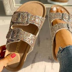 Women's PVC Flat Heel Sandals Peep Toe Slippers With Rhinestone Buckle shoes