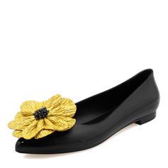 Donna PVC Ballerine Punta chiusa con Fiore scarpe
