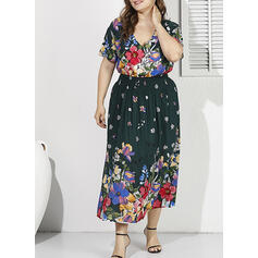 Print/Floral Short Sleeves A-line Casual/Vacation/Plus Size Midi Dresses