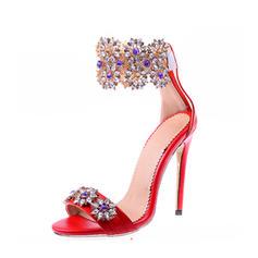 De mujer Cuero Tacón stilettos Sandalias con Crystal Cremallera zapatos