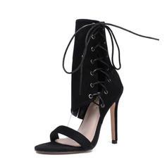 Femmes Suède Talon stiletto Escarpins Bottes À bout ouvert Bottes mi-mollets avec Zip Dentelle chaussures