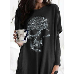 Sequins Round Neck Long Sleeves Sweatshirt