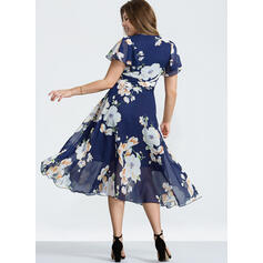 Print Short Sleeves A-line Vintage/Casual/Elegant/Boho Midi Dresses