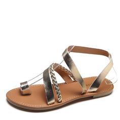 Femmes Similicuir Talon plat Sandales Chaussures plates À bout ouvert Escarpins avec Lanière tressé chaussures