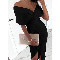 Egyszínű 1/2-es ujjú Testre simuló ruhák Aszimmetrikus Kis fekete/Party Ołówkowa φορέματα