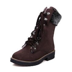 Femmes Suède Talon bas Bout fermé Bottes Bottes mi-mollets Bottes neige avec Dentelle chaussures