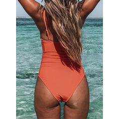 Solid Color Strap V-Neck Vintage Fresh One-piece Swimsuits