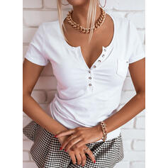 Solid V-Neck Short Sleeves Button Up Casual Blouses