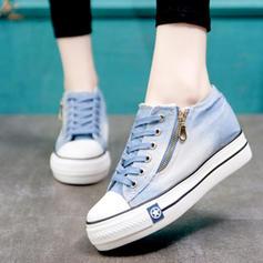 Femmes Toile Talon compensé Chaussures plates avec Zip chaussures