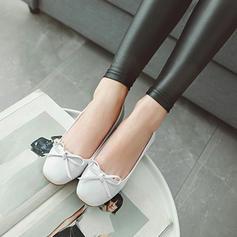 Femmes Similicuir Talon plat Chaussures plates Bout fermé avec Bowknot chaussures
