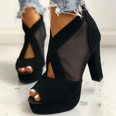 Vrouwen PU Chunky Heel Peep Toe met Rits schoenen