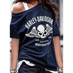 Print Figure One-Shoulder Short Sleeves Casual T-shirts