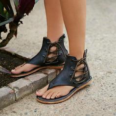 Bayanlar PVC Düz topuk Sandalet Flats Peep Toe Ile Fermuar Bağcıklı ayakkabı ayakkabı