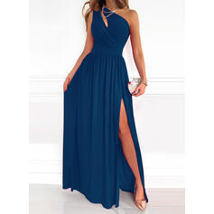 Solid Sleeveless A-line Skater Party/Elegant Maxi Dresses