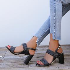 Жіночі ПУ Квадратні підбори Сандалі взуття на короткій шпильці з Пряжка взуття