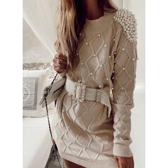 Jednolity Wysadzana perełkami Wycięcie pod szyją Casual Sukienka sweterkowa
