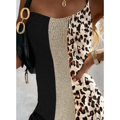 Color Block/Leopard Sleeveless Bodycon Above Knee Casual Slip Dresses