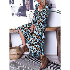 Leopard Long Sleeves Shift Tunic Casual/Vacation Midi Dresses