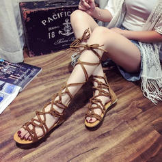 Femmes PU Talon plat Sandales Chaussures plates À bout ouvert avec Dentelle Ouvertes chaussures