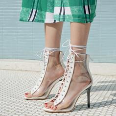 Dla kobiet Skóra ekologiczna PVC Obcas Stiletto Sandały Czólenka Otwarty Nosek Buta Z Sznurowanie obuwie