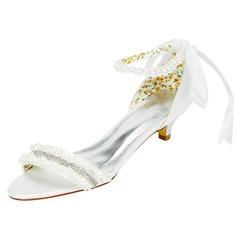 Women's Satin Kitten Heel Sandals With Beading Crystal