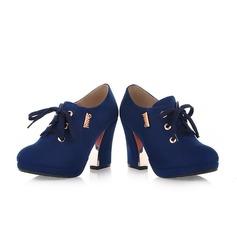 Naisten Mokkanahka Chunky heel Avokkaat Platform Suljettu toe kengät