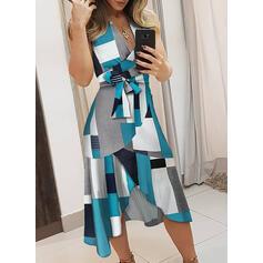 Striped/Geometric Print Sleeveless A-line Asymmetrical Casual/Elegant Dresses