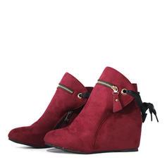 Women's Suede Wedge Heel Wedges Boots With Zipper shoes