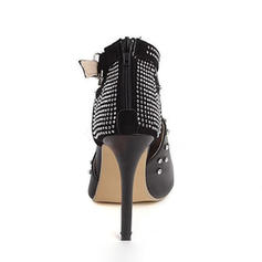 Women's PU Stiletto Heel Pumps Boots Ankle Boots With Rivet Buckle Zipper shoes