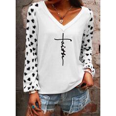 Hart Print Letter V-hals Lange Mouwen T-shirts