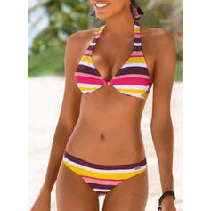 Rayures Taille Basse Dos Nu Sexy Sports Bikinis Maillots De Bain