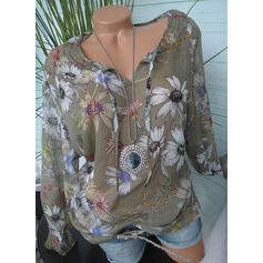 Print Floral V-Neck Long Sleeves Casual Knit Blouses