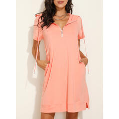 Solid Short Sleeves Shift Knee Length Casual/Vacation Sweatshirt Dresses