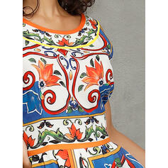 Estampado Sem mangas Evasê Skatista Casual/Elegante Midi Vestidos