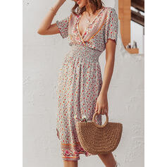 Print/Floral Short Sleeves A-line Casual/Boho/Vacation Midi Dresses