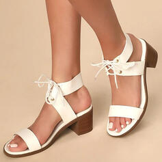 Women's PU Chunky Heel Sandals Pumps With Lace-up Crisscross shoes