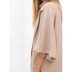 Solid High Neck 3/4 Sleeves Casual Knit Blouses