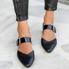 Femmes PU Talon bottier Chaussures plates Bout fermé avec Boucle La copie Animale chaussures