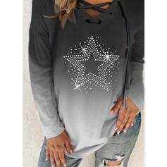 Sequins Gradient V-Neck Long Sleeves Sweatshirt
