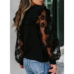 Solid Lace Round Neck Lantern Sleeve Long Sleeves Casual Elegant Blouses