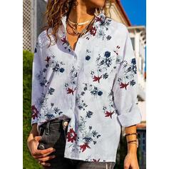 Tisk Květinový Rever Dlouhé rukávy Casual Bluze