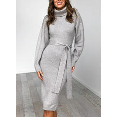 Solid High Neck Sweater Dress
