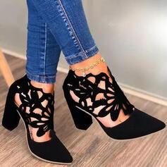 Femmes PU Talon bottier Escarpins Low Top avec Ouvertes chaussures