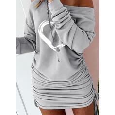 Minta/Καρδιά Hosszú ujjú Testre simuló ruhák Térd feletti Hétköznapokra Bluza φορέματα