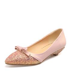 Donna Glitter scintillanti PVC Senza tacco Ballerine Punta chiusa con Bowknot scarpe