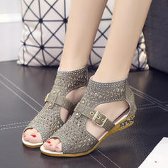 Women's Sparkling Glitter Wedge Heel Sandals Wedges Peep Toe With Sparkling Glitter Buckle Zipper shoes